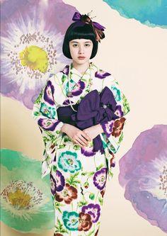 "Yukata ゆかた ""mizube no popii"" 水辺のポピー (waterside poppy) - Furifu ふりふ collection 2014"