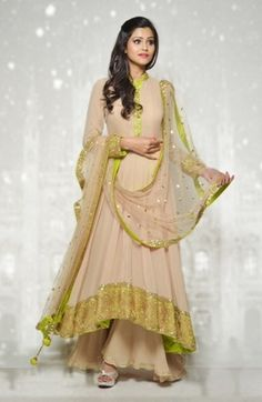 Indian Suits - Anarkalis - Beige and Lime Green Suit | WedMeGood Beautiful Beige Floor Length Suit with Lime Green Broad Border and Nehru Collar, Sharara Beige Pants and Beige Net Dupatta with Lime Green Border and Shimmer #wedmegood #anarkali #beige #lime