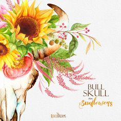 Sunflowers Watercolor Bull Skull with Floral от ReachDreams