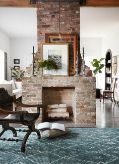 Home Interior Company .Home Interior Company Two Sided Fireplace, Open Fireplace, Farmhouse Fireplace, Magnolia Home Rugs, Red Brick Fireplaces, Chimney Decor, Farmhouse Family Rooms, Family Room Fireplace, Old Bricks