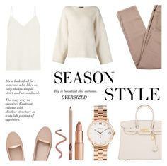 """""""Season Style : Oversized Sweater"""" by rachaelselina ❤ liked on Polyvore featuring Marc by Marc Jacobs, Hermès, H&M, The Row and Frame Denim"""