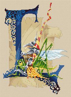 Cross Stitch Chart Iluminado Letra L - Cavaleiro por Pascal Moguerou arte da fantasia