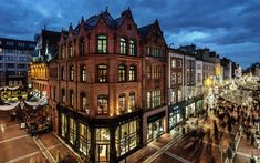 Download wallpapers Dublin, Ireland, evening, cityscape, Christmas, streets, old houses