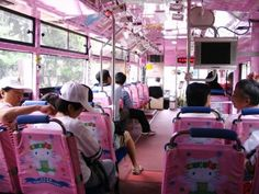 Inside of a Hello Kitty Bus :)