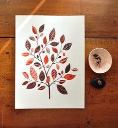 L'arbre de Copperleaf - Collection aquarelle botanique 8 x 10