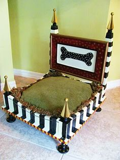 Dog Bed From an End Table- Black and White Stripes
