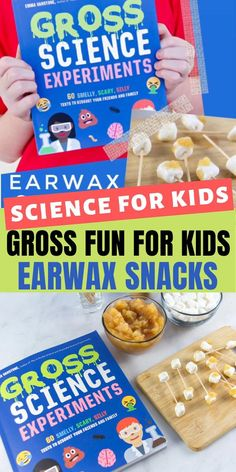 You need the book Gross Science Experiments by Emma Vanstone. It's filled with 60 gross, smelly, and silly science experiments that kids will love including these earwax snacks. Science Experiments Kids, Science For Kids, Activities For Kids, Kitchen Science, Ear Wax, Toddler Snacks, Summer School, Business For Kids, Healthy Treats