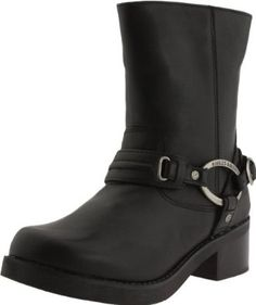 812a58db4b17 Harley-Davidson Women s Christa Boot Mid-calf harness boot with oval logoed  hardware and stacked block heel Full-length instep zipper Cushioned footbed  ...