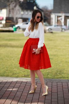 Red Lace Skirt \ Merry Christmas! - Fashionably Kay