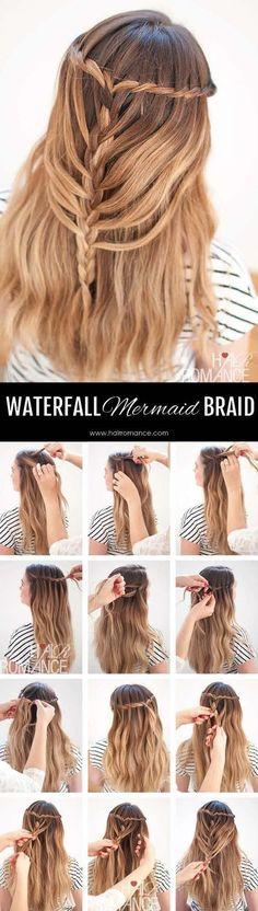 Hair Romance Waterfall mermaid braid tutorial for long hair / http://www.himisspuff.com/easy-diy-braided-hairstyles-tutorials/68/