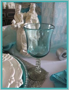 new christmas tablescaping | These lovely aqua goblets with twisted stems were new