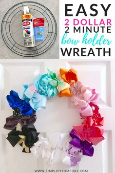 Super cheap and easy hair bow craft. Make your bow storage adorable the easy way! Diy Hair Bow Organizer, Hair Bow Storage, Diy Hair Bow Holder, Hair Bow Organization, Headband Holders, Easy Hair Bows, Making Hair Bows, Hair Bow Display, Hair Bow Tutorial