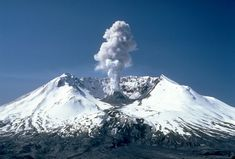 Mount St. Helens, 3,000 ft  steam plume on May 19, 1982, two years after its major eruption