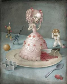 Italian artist Nicoletta Ceccoli uses pastel colors to tell us a story of a melancholy world. Some common themes in her surreal works include loneliness, f