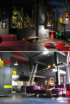 Check out this contemporary man cave design - love the gray walls and concrete flooring!   via 12 Coolest Man Caves