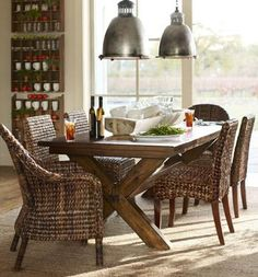 deep chestnut finish and woven seagrass dining chairs-love