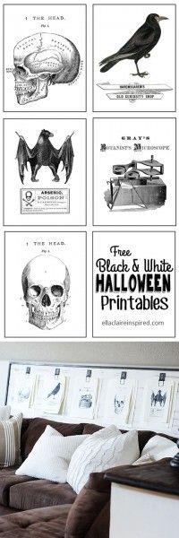 Eight Watercolor Halloween Printables - halloween decoration printables