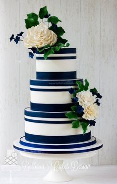 Image result for navy and white wedding cake