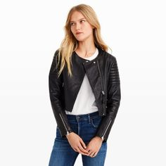 With an intimate understanding of fine leathers, the iconic Mackage label produces exquisite wares with a downtown feel. The Mireya jacket is made from the finest, most supple lambskin and is finished with padded stitched details at the shoulder and upper sleeve. Shell: lambskin; lining: polyester  Cropped, fitted silhouette  Asymmetrical front zip with leather pull tab; single snap button closure at the neck; zippered welt pockets and expan