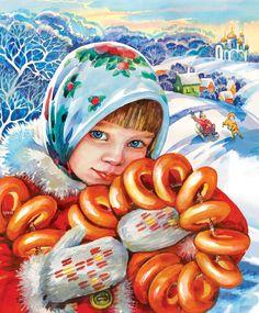 Main %d0%bc%d0%b0%d1%81%d0%bb%d0%b5%d0%bd%d0%b8%d1%86%d0%b0 %d1%84%d1%80 Russian Culture, Russian Art, Decoupage, Russian Painting, Ukrainian Art, Portrait Pictures, Winter Art, Christmas Illustration, Christmas Colors