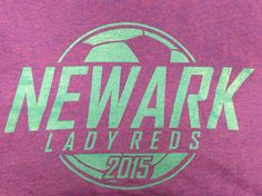 The annual Newark Girls' Soccer team preseason shirts have a great color scheme this year! Bright blue on lilac is a unique color combination that we're loving! #design #custom #graphicdesign #embroidery #screenprinting #tshirt #apparel #artwork #color #combination #soccer