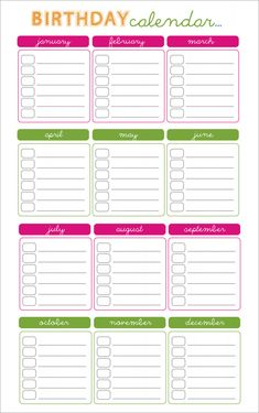 Birthday Calendar Calendar Template School Stuff Birthday
