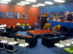 Like the mix of sofas and chairs - church youth room ideas