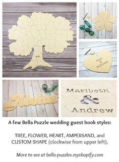 Bella Puzzles™ custom guest books are ideal for boho, rustic, minimalist, outdoor weddings.