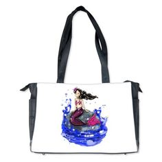 Mandy The Mermaid Diaper Bag www.teeliesfairygarden.com  A very good example of on the go bags. With its water resistant lining and metal feet, you and baby can be confident anywhere you go. #fairydiaperbag