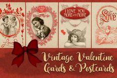 Valentine vintage 4 cards and postcards from DesignBundles.net Affiliate link