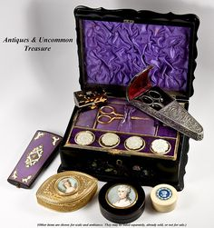 Victorian sewing casket and accessories w/mother of pearl... so gorgeous