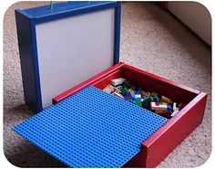 I love these handmade Lego Boxes!  Legos are (almost) always picked up and the boys love to carry them from room to room so easily.