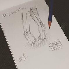 """""""Participando também do #Junesture. Começando com #pés. ←↑↓→←↑↓→ #foot #pe #instanart #pencil…"""""""