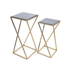 Isabelle Geo Side Tables, Brass