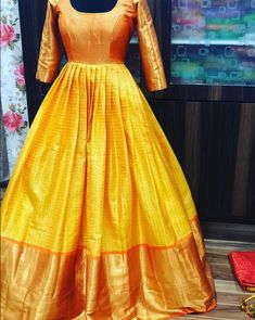 Kanjeevaram the heavenly silk . Kanjeevaram the heavenly silk . Indian Fashion Dresses, Indian Gowns Dresses, Indian Designer Outfits, 50s Dresses, Wedding Dresses, Long Gown Dress, Saree Dress, Silk Dress, Long Frock