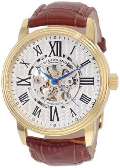 Stuhrling Original Men's 1077.3335K2 Classic Delphi Venezia Automatic Skeleton Brown Watch $95.04 (78% OFF) #StuhrlingOriginal
