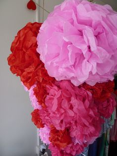 Valentines Day Display.   Tissue paper balls and/or napkin flowers?