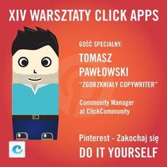 14 lutego i 14-te warsztaty click apps  #click apps #Pinterest #Tomasz Pawłowski #Zgorzkniały Copywriter  Warsztaty szczególne, bo nie co dzień miłości do Pinteresta będzie uczył Was #Zgorzkniały Copwyriter. Zobaczycie jak zbudować popularność na Pinterst'cie. Finałem Warsztatów będzie walentynkowy, pełen pinów, Pinterest'owy konkurs. Pokażemy jak w aplikacji połączyć kilka marek z Piterest'em i z Facebook'iem  14.02.2013, 9:00 rano  Wydarzenie: http://on.fb.me/12E2wia
