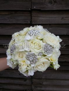 White Roses and Brooches Bouquet, by Lily King Weddings