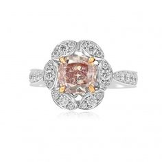 Fancy Brown Pink Diamond Floral Halo Ring