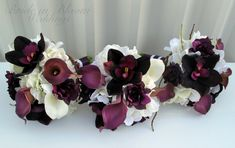 Plum Wedding bouquet real touch calla lily by BrideinBloomWeddings, $75.00