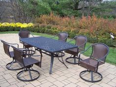 Cascade 7 Piece Swivel Dining Set by Oakland Living. $1833.99. Fade, Chip and Crack Resistant. Stainless Steel, galvanized or Brass Assembly Hardware. Rust Free Aluminum, Steel and Resin Wicker Construction. Easy to Follow Assembly Instructions and Product Care Information. Hardened Powder Coat Finish in Black for Years of Beauty. 2136-90079-S-7-BK Features: -Table top has an opening for an umbrella.-Hardened powder coat for years of beauty.-Fade, chip and crack resistant. Incl...