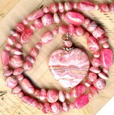 "RHODOCHROSITE Beads Graduated Rounds & Large Heart Pendant~ Argentina 16"" str."