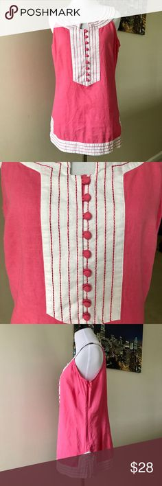 Lilly Pulitzer Cissy Tunic Pink Linen Blend Top Lilly Pulitzer Cissy Tunic Pink and White Linen Blend Top  Size zipper with hook and eye closure   Perfect for spring and summer!!   GUC- no holes, stains or damage noted   FAST shipping! Same or next day shipping, always! Thanks for looking! Lilly Pulitzer Tops