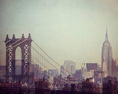 Manhattan Bridge and Empire State Building, New York Photography, Fine Art Print, NYC Skyline, Pastel Mint Green - 8 Million Stories