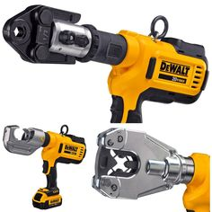Dewalt is getting into the crimping market.looks like they plan to give Milwaukee Force Logic a run for their money! Hvac Tools, Electrical Tools, Cool Tools, Diy Tools, Dewalt Tough System, Electrician Tool Pouch, Dewalt Power Tools, Mobile Workshop, Hvac Maintenance