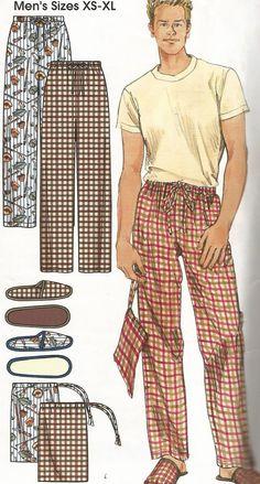 Simplicity 5270 Men's Pajama Pants Slippers & Bag Pattern Size XS-XL Uncut