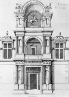 Photo, Architectural rendering of an entrance at Chateau d'Ecouen in the Val Oise; now the Museum of National Renaissance.