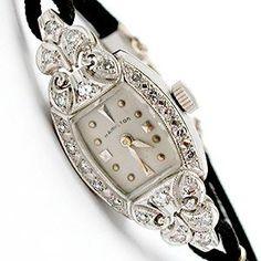 Antique Ladies Hamilton Diamond Watch Solid Platinum
