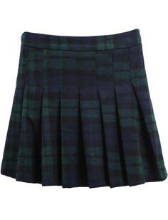 Blue Plaid Pleated Woolen Skirt